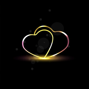 Abstract Hearts With Shine On Black Background. Vector.