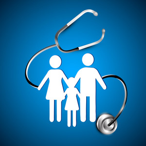 Abstract Heath Care Background With White Silhouette Of A Family Under Stethoscope.