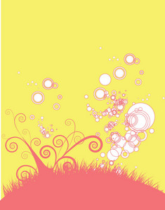 Abstract Illustration Of A Background With Floral And Circles