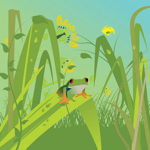 Abstract Illustration Of A Background With Floral And Frog