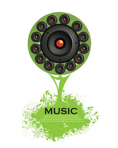 Abstract Illustration Of A Tree With Grunge And Speaker