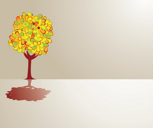 Abstract Illustration Of A Tree With Lots Of Flowers