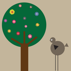 Ilustração abstrata de uma árvore com muitas folhas