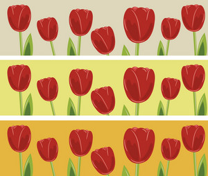 Abstract Illustration Of A Web Banner With Tulips