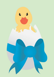 Abstract Illustration Of An Easter Egg With Bow And Duck