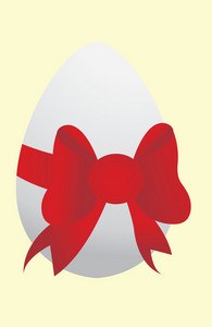 Abstract Illustration Of An Easter Egg With Bow