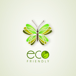 Abstract Illustration Of Butterfly With Text Eco Friendly
