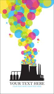 Abstract Illustration Of Factory With Balloons. Vector.