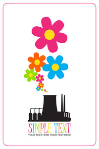 Abstract Illustration Of Factory With Flowers. Vector.