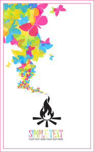 Abstract Illustration Of Fire And Butterflies Instead Of A Smoke.