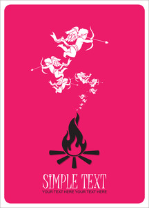 Abstract Illustration Of Fire And Cupids Instead Of A Smoke.