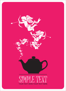 Abstract Illustration Of Teapot With Cupids.