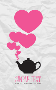 Abstract Illustration Of Teapot With Hearts On A Paper-background.