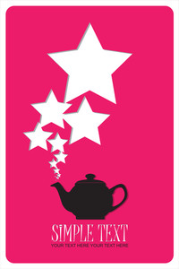 Abstract Illustration Of Teapot With Stars.