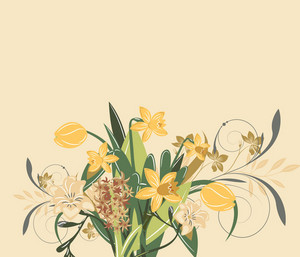 Abstract Illustration With Daffodil,hyacinth And Tulip