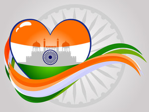 Abstract Indian Heart With Red-fort And Waves. Vector Illustration.