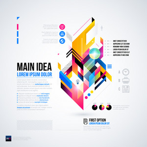 Abstract Infographics Layout With Glossy Geometric Elements. Useful For Presentations