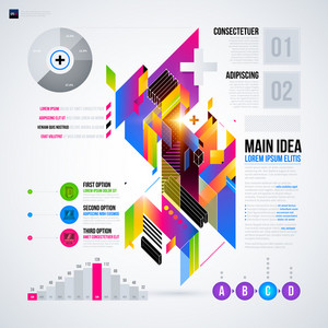 Abstract Infographics Layout With Glossy Geometric Elements. Útil para apresentações