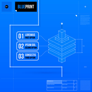 Abstract Layout Template In Blueprint Style With Three Numbered Options And Isometric Object. Eps10