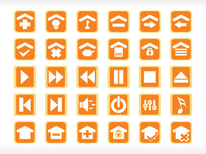 Abstract Media Icon Set Series Orange