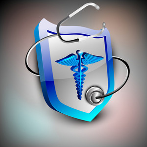 Abstract Medical Background With Caduceus And Stethoscope