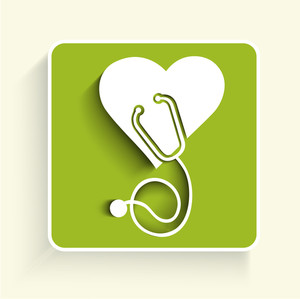 Abstract Medical Conccept With Heart Shape And Stethoscope On Green Background.
