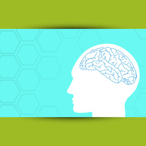 Abstract Medical Concept With A Illustration Of A Human Brain On Blue And Green Background.