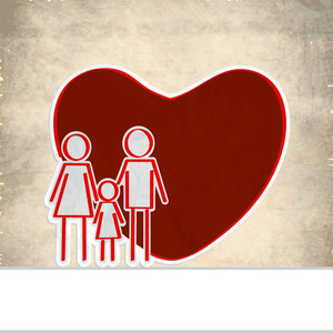 Abstract Medical Concept With Beautiful Red Heart Shape With Illustration Of A Family On Grungy Brown Background.