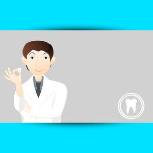 Abstract Medical Concept With Dentist Holding A Teeth On Grey And Blue Background.