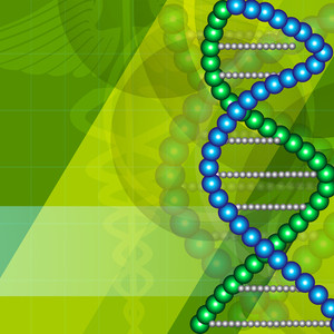 Abstract Medical Concept With Dna Structure On Shiny Green Background.
