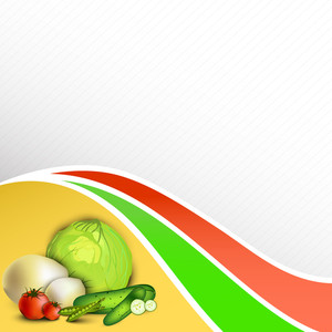 Abstract Medical Concept With Fruits And Vegatables On Colorful Wave Background.