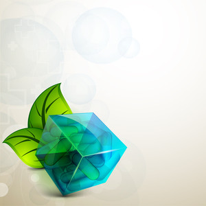 Abstract Medical Concept With Green Leaves And Blue Cube On Grey Background.