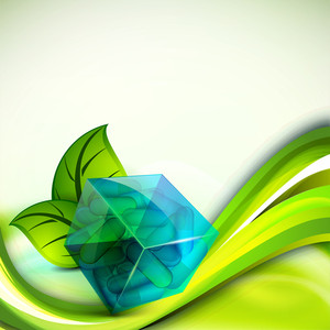 Abstract Medical Concept With Green Leaves And Blue Cube On Shiny Waves Background.