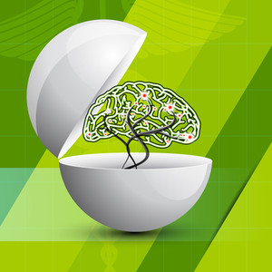 Abstract Medical Concept With Human Brain On Shiny Green Background.