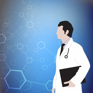 Abstract Medical Concept With Illustration Of A Doctor Holding Letterpad And Sethescope On Blue Background.