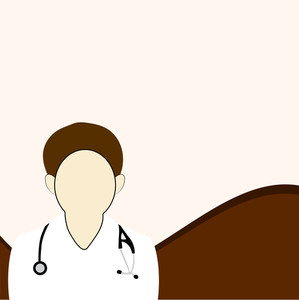 Abstract Medical Concept With Illustration Of A Doctor On Brown Wave Background.