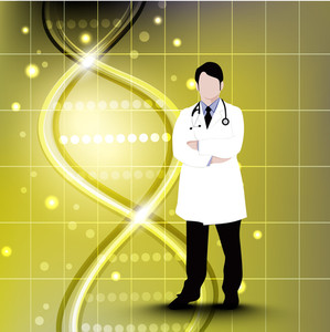 Abstract Medical Concept With Illustration Of A Doctor On Green Background.