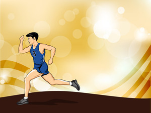 Abstract Medical Concept With Illustration Of A Young Boy Running On Shiny Waves Background.