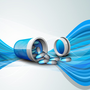 Abstract Medical Concept With Medical Pills On Blue Waves Background.