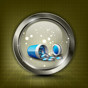 Abstract Medical Concept With Medical Pills On Shiny Brown Background.