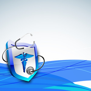Abstract Medical Concept With Medical Symbol And Sethescope On Blue Wave Background.