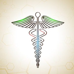 Abstract Medical Concept With Medical Symbol On Shiny Brown Background.