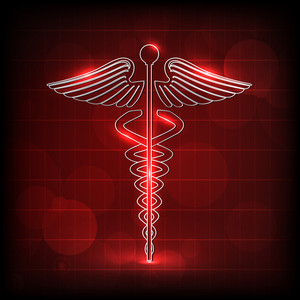 Abstract Medical Concept With Medical Symbol On Shiny Red Background.