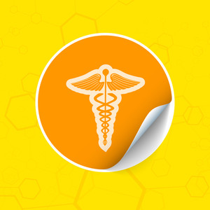 Abstract Medical Concept With Medical Symbol On Yellow Background.