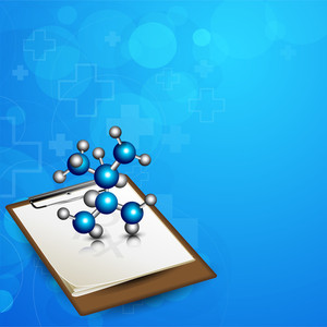Abstract Medical Concept With Molecules And Diagnostic Letter On Blue Background.