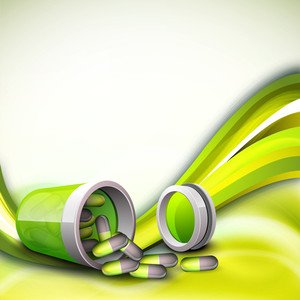 Abstract Medical Concept With Pills On Shiny Green Wave Background.