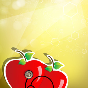Abstract Medical Concept With Red Apple And Sethescope On Yellow Background.