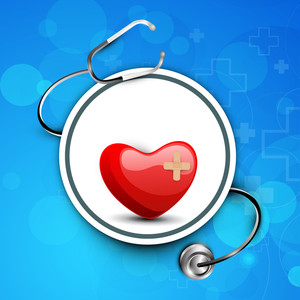 Abstract Medical Concept With Red Heart And Sethescope On Blue Background.