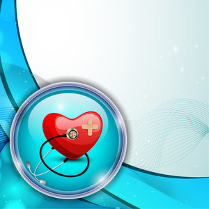 Abstract Medical Concept With Red Heart Shape With Sethescope On Blue Waves Background.