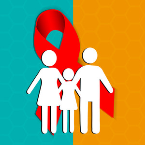 Abstract Medical Concept With Silhouette Of A Familiy With Aids Control